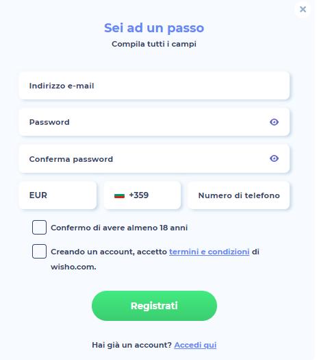 Wisho Casino Registrati