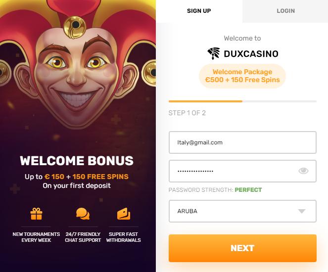 Come registrarsi suDux Casino?
